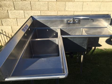 used three compartment sink used 3 compartment corner sink w 1 faucet drain plumbing
