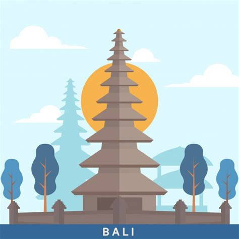 indonesia bali landmark vector premium
