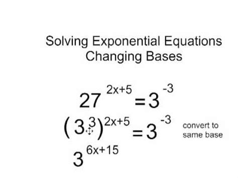 Solving Exponential Equations By Changing Basesmp4 Youtube