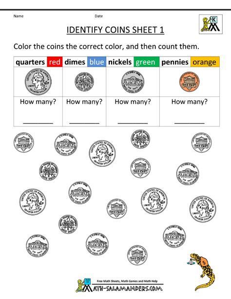 kindergarten money worksheets 1st grade