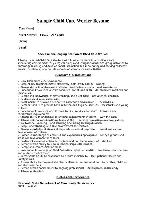 Resume For Child Care Worker by Child Care Worker Cover Letter Sle Child Care Worker