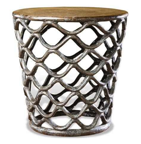 antique brass side table lattice accent table rustic french antique cast brass side