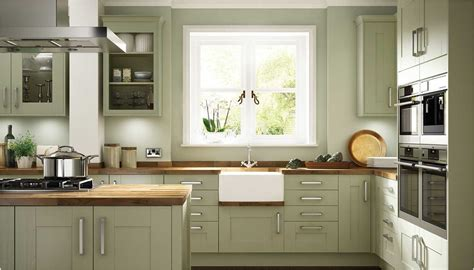 Olive Green Kitchen With White Cabinets Saomcco