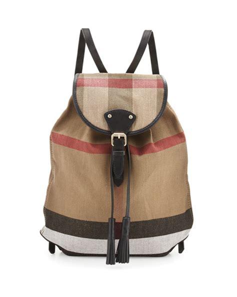 Burberry Chiltern Brit Check Medium Canvas Backpack, Black