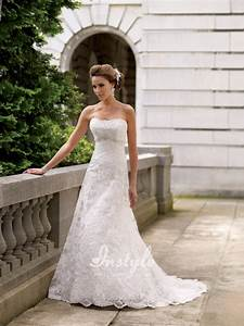 strapless embroidered lace wedding dress sang maestro With strapless lace wedding dress
