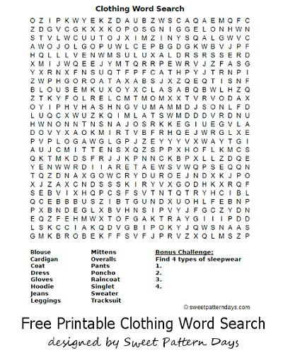clothing word search activity printables