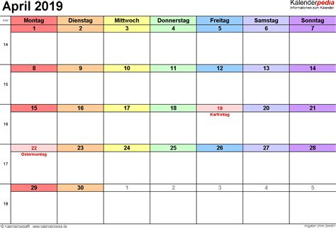 kalender april als vorlagen