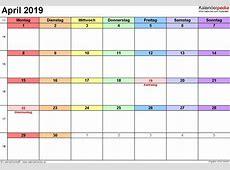 Kalender April 2019 als ExcelVorlagen