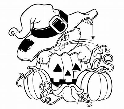 Halloween Colorings Pages Coloring Printable Cat Colouring