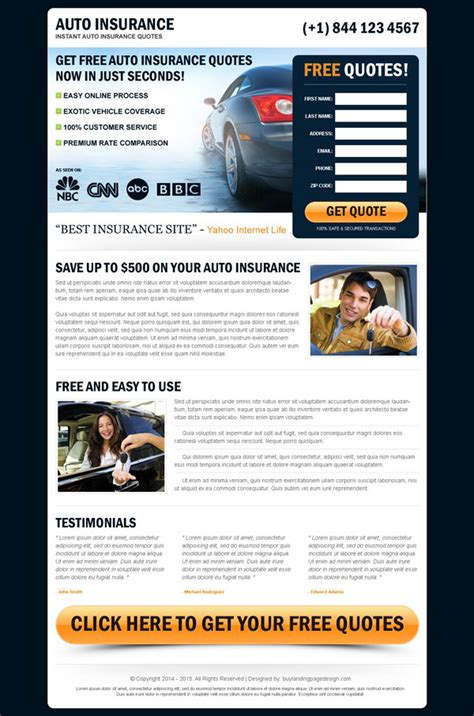 free auto insurance quotes auto insurance landing page designs to improve your conversion