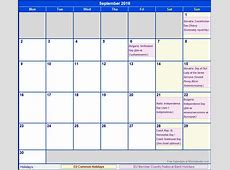 September 2019 Calendar With Holidays calendar weekly