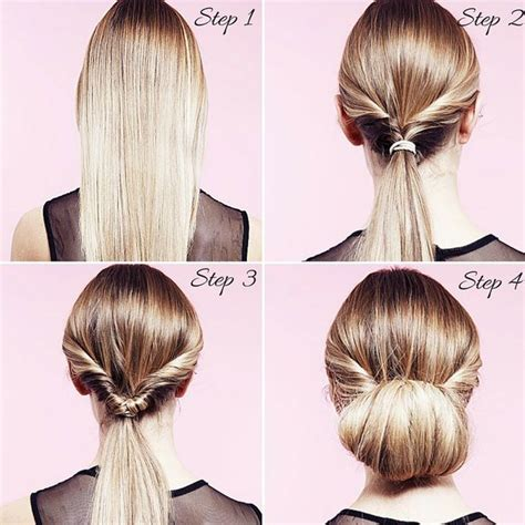 easy party hairstyles     twisted bun   step