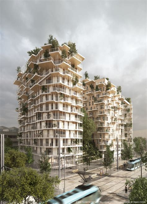 sou fujimoto and laisn 233 roussel propose wooden mixed use