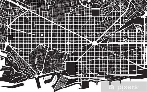 Fotomural Barcelona, negro, blanco, plano de la ciudad ...