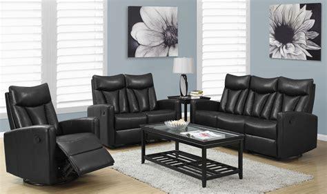 Reclining Living Room Sets : 87bk-3 Black Bonded Leather Reclining Living Room Set