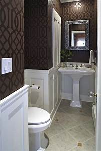 Imperial Trellis Wallpaper - Transitional - bathroom