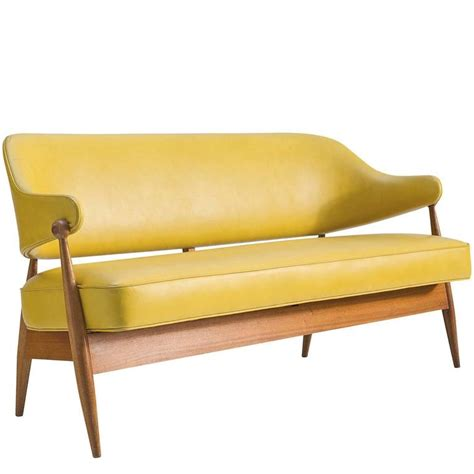 Yellow Settee by Settee In Summer Yellow Ohmann Leather And Teak At