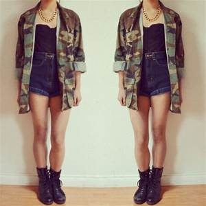 Jacket: camouflage, high waisted shorts, combat boots ...