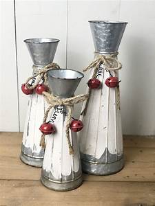 Holiday, Metal, Vases, With, Red, Bells