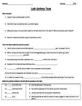 lab safety test for a foods class by fcs matters tpt