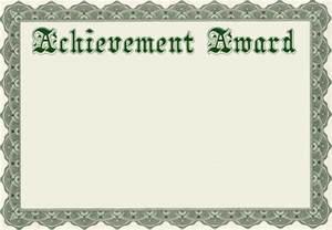 Achievement Award Certificate Template Free
