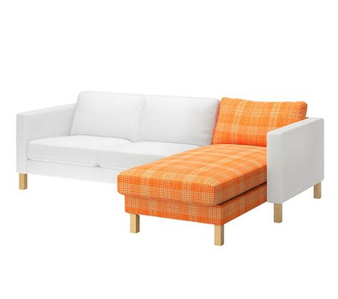 ikea karlstad add on chaise longue slipcover cover husie orange