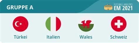 Aus der em 2020 ist zwar inzwischen die em 2021 geworden, dadurch werden die gruppenspiele allerdings mit umso größerer spannung erwartet. Gruppe A EM 2021 - Italien, Schweiz, Türkei & Wales   EM 2020