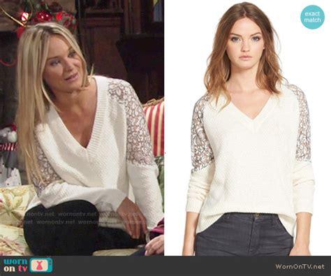 wornontv sharons white  neck sweater  lace sleeves