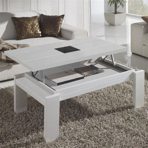 table basse blanche table basse relevable blanche centre verre