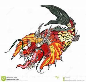 Dragon Koi Fish, Japanese Carp Line Drawing Coloring Book ...