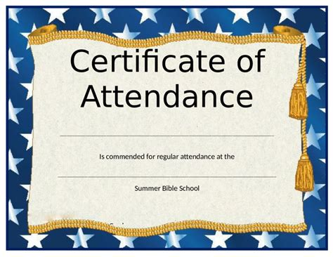 certificate  attendance fillable printable
