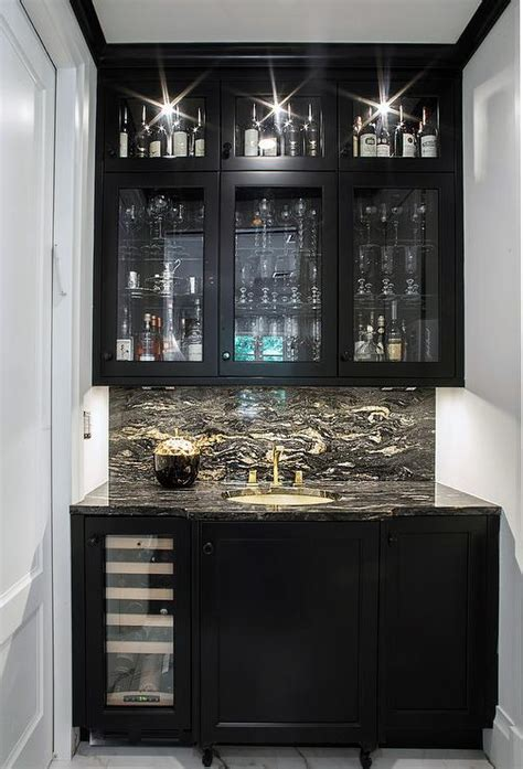 black wet bar cabinets  black  white marble