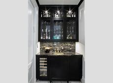 Black Wet Bar Cabinets with Black and White Marble