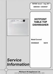 Hotpoint Hcd 662 Uk Table Top Dishwasher Service Manual