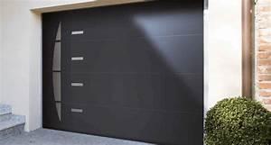 Porte de garage sectionnelle avec porte pvc gris for Porte de garage coulissante avec porte pvc