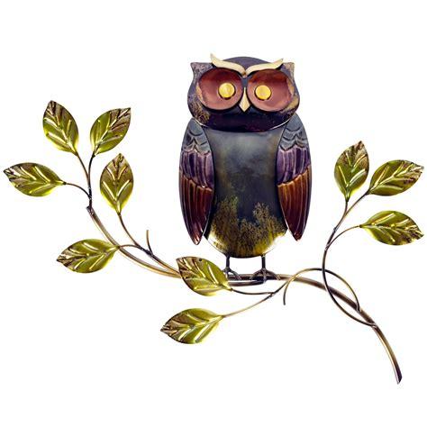 owl  branch metal wall art dunelm