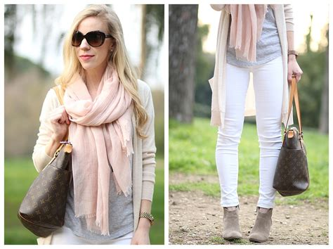 Long Cardigan, Pink Scarf & White Ankle Jeans }