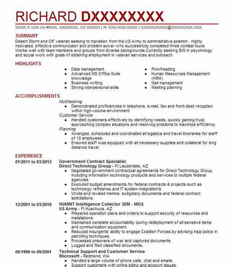 Contract Specialist Resume Exle by Contract Specialist Resume Sle Vvengelbert Nl