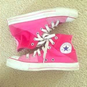 off Converse Shoes Neon pink and black converse