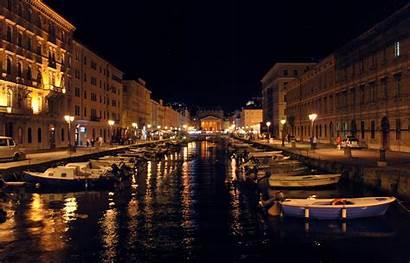Italy Night Trieste Resort Lights Wallpapers Italian