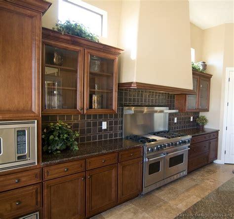 kitchen brown cabinets granite countertops backsplash ideas brown wood 4372