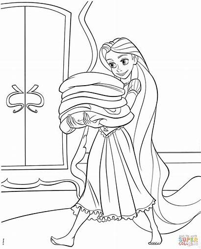 Rapunzel Coloring Tangled Pages Disney Printable Drawing