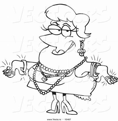 Cartoon Coloring Jewels Woman Wearing Outline Toonaday