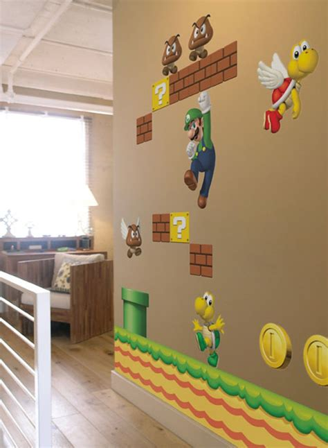 cool wall stickers for mario themed room from