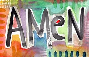 Amen- Colorful Word Art Painting Painting by Linda Woods