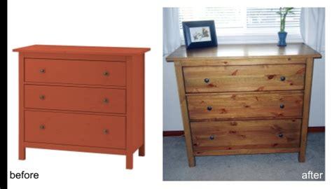 before red hemnes ikea pine 3 drawer dresser after