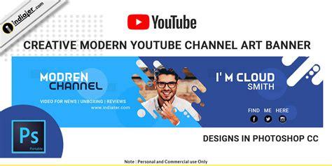 creative modern youtube channel art banner psd indiater