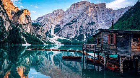 wallpaper pragser wildsee lake italy europe  travel