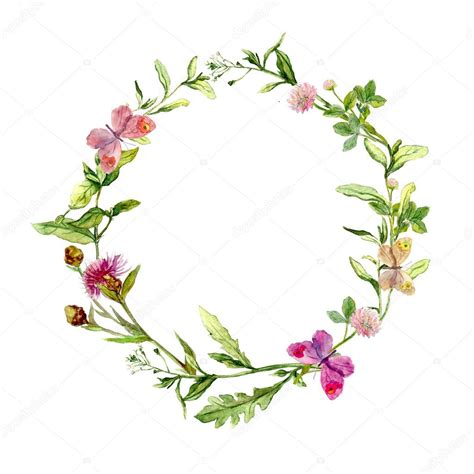 wreath border frame  summer herbs meadow flowers