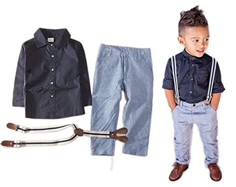 Baby Boy Long Sleeve T-shirt Suspender Straps and Pants Clothing Sets Outfit | mRoz life